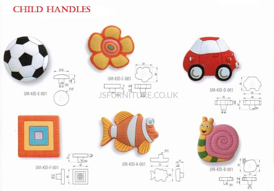 Knobs: GTV-UM-KID KIDS HANDLES - JS Furniture Accessories
